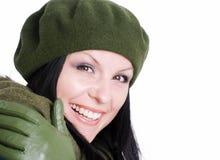 Donna sorridente in vestiti di autunno fotografia stock libera da diritti