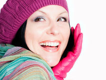 Donna sorridente in vestiti di caduta fotografia stock libera da diritti