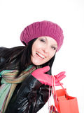 Donna sorridente in vestiti di caduta   Fotografie Stock