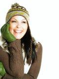 Donna sorridente in vestiti di inverno Fotografia Stock