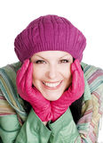 Donna sorridente in vestiti variopinti di caduta fotografie stock libere da diritti