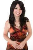 Donna sorridente in vestito da estate immagini stock libere da diritti