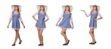 Donna sorridente in vestito semplice e cappello dal plaid isolati sul briciolo Fotografia Stock