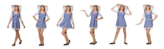Donna sorridente in vestito semplice e cappello dal plaid isolati sul briciolo Fotografia Stock Libera da Diritti