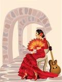 Donna spagnola di flamenco. Fotografia Stock