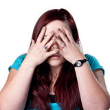 Donna spaventata fotografia stock