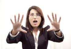Donna spaventata fotografie stock libere da diritti