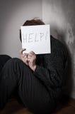Donna spaventata ed abusata Fotografia Stock Libera da Diritti