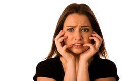 Donna spaventata - ragazza preety che gesturing timore Immagini Stock Libere da Diritti