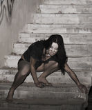 Donna spaventosa Fotografia Stock