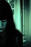 Donna spaventosa di orrore Fotografia Stock