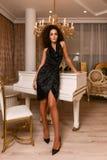 Donna splendida nell'interno di lusso fotografia stock