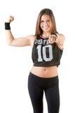 Donna sportiva che indica voi Fotografie Stock Libere da Diritti