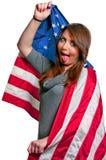 Donna spostata in una bandierina Fotografie Stock Libere da Diritti