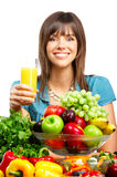 Donna, spremuta, verdure e frutta immagine stock