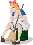 Donna stanca con la scopa che si siede sul secchio Fotografie Stock