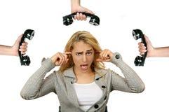 Donna stanca del telefono Fotografia Stock Libera da Diritti