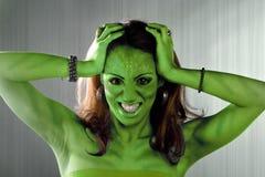 Donna straniera verde Fotografie Stock Libere da Diritti