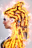 Donna su fuoco Immagine Stock Libera da Diritti