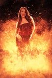 Donna su fuoco Immagini Stock Libere da Diritti