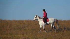 Donna su un'aria aperta del cavallo nel campo Movimento lento video d archivio