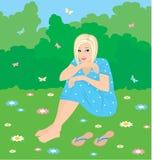 Donna su un'erba illustrazione di stock