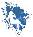 Donna su una priorità bassa blu illustrazione vettoriale