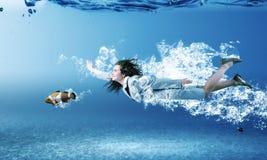 Donna subacquea Fotografia Stock Libera da Diritti