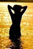 Donna sul fiume Immagine Stock Libera da Diritti