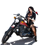Donna sul motociclo Fotografia Stock Libera da Diritti