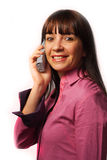 Donna sul telefono Fotografie Stock Libere da Diritti