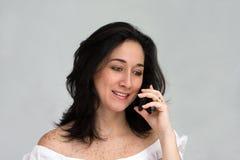 Donna sul telefono Fotografia Stock