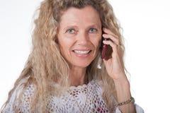 Donna sul telefono cellulare Immagine Stock