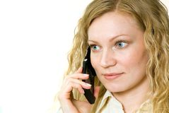 Donna sul telefono delle cellule Fotografia Stock