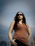 Donna sul tetto Fotografie Stock