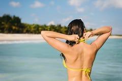 Donna sul viaggio e sulla vacanza dei Caraibi di estate Immagine Stock Libera da Diritti