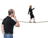 Donna sulla corda Fotografie Stock Libere da Diritti