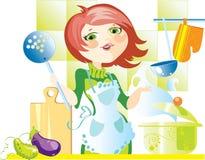 Donna sulla cucina Fotografia Stock Libera da Diritti