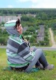 Donna sulla montagna Fotografie Stock Libere da Diritti