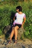 Donna sulla passeggiata Fotografia Stock