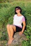 Donna sulla passeggiata Immagini Stock Libere da Diritti