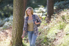 Donna sulla passeggiata del paese attraverso il terreno boscoso Fotografia Stock