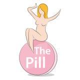 Donna sulla pillola Fotografia Stock Libera da Diritti