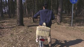 Donna sulla pista ciclabile in parco video d archivio