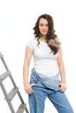Donna sulla scaletta immagine stock