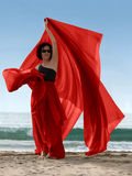 Donna sulla spiaggia Immagini Stock Libere da Diritti