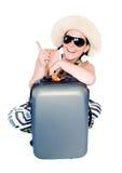 Donna sulla vacanza con la valigia sopra bianco Fotografia Stock
