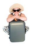 Donna sulla vacanza con la valigia sopra bianco Fotografia Stock Libera da Diritti