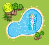 Donna sulla zattera di galleggiamento nello stagno illustrazione vettoriale