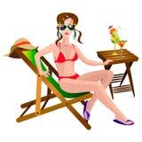 Donna sulle chaise longue Immagini Stock Libere da Diritti